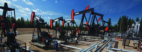 Horse-head pump jacks at a Canadian site. Photo courtesy of ExxonMobil.