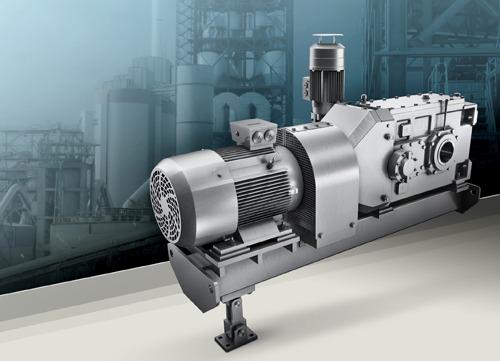 Der neue Siemens Becherwerksantrieb enthält Komponenten aus der Getriebereihe Flender SIG und der neuen Getriebemotorenreihe Simogear. The new Siemens bucket elevator drive unit contains components from the Flender SIG gearbox series and the new Simogear range of geared motors.