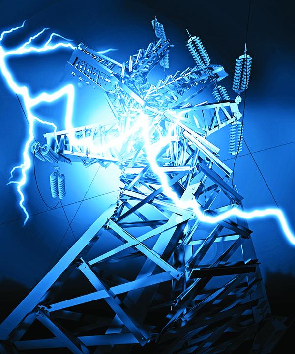 Power Transmission Line. Lightning strike. 3d render